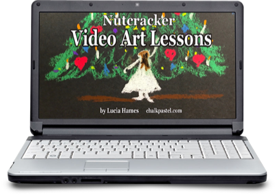 Use chalk pastels to create are for the Nutcracker music lesson. From Music in Our Homeschool.