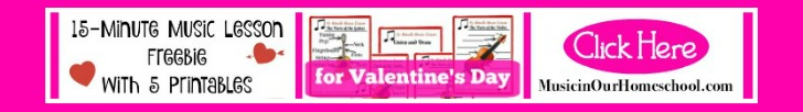 15-Minute Music Freebie Valentines' Day with a freebie printable pack #musiclesson #musiclessonfreebie #musicteacher #musiclessonsforkids